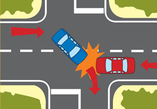 Collision diagram while turning across oncoming traffic