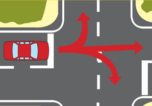 Diagram of arrows showing left turn, right turn and straight on