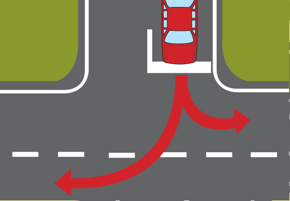 Diagram of arrows showing right and left turns from T-junction