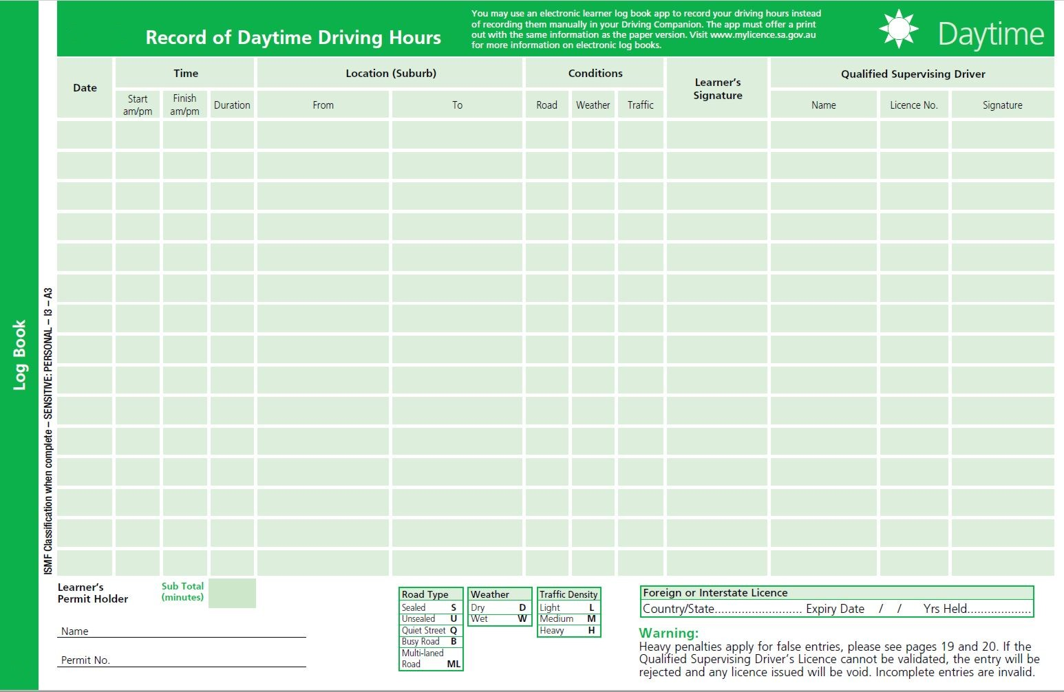free drivers log book template