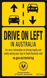 Drive on the left in australia