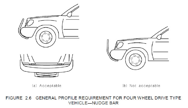 profile requirement for four wheel drive type vehicle - nudge bar