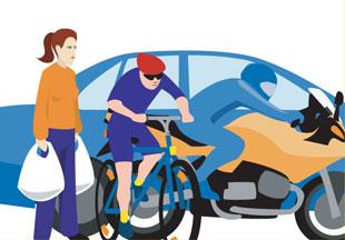 Pedestrians, cyclists & motorcyclists